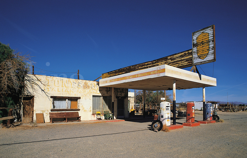 Abandoned gas station on Route 66, southern California, US