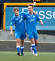 Queen of the South's Iain Russell (right) celebrates with Daniel Carmichael after he scores their first goal.