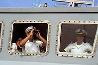 """- Italian Navy, officiers on the bridge of a """"Castagno"""" class minesweeper ....- Marina militare italiana, ufficiali in plancia a bordo di un dragamine classe """"Castagno"""""""