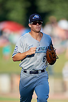 West Michigan Whitecaps right fielder Brady Policelli (6) jogs back to the dugout during a game against the Kane County Cougars on July 19, 2018 at Northwestern Medicine Field in Geneva, Illinois.  Kane County defeated West Michigan 8-5.  (Mike Janes/Four Seam Images)
