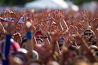 CHICAGO, Illinois - Monday June 22, 2014: Fans gather at Grant Park to watch the World Cup match between US Men's National team and Portugal.