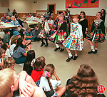 """WOODBURY, CT 09/26/98 --0926JH08.tif--Dancers from the Horgan Academy of Irish Dance perform a twirl reel to music from """"Riverdance""""  Saturday evening at the North Congregational Church in Woodbury. They were the featured performers as part of a ziti dinner held by the Women's Fellowship at the Church. JOHN HARVEY staff photo STANDALONE PHOTO."""
