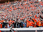 Oklahoma State Cowboys fans watch the action during the game between the Baylor Bears and the Oklahoma State Cowboys at the Boone Pickens Stadium in Stillwater, OK. Oklahoma State defeats Baylor 59 to 24.