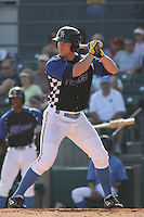 Adam Milligan #25 of the Myrtle Beach Pelicans at bat during a game against the Frederick Keys on May 2, 2010 in Myrtle Beach, SC.