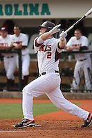 Chris Kay #2 of the Virginia Tech Hokies at bat during a game against the University of Indiana Hoosiers  at Watson Stadium at Vrooman Field in Conway, South Carolina on February 18, 2011. Photo by Robert Gurganus/Four Seam Images