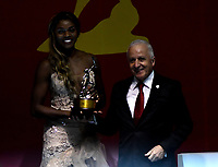 BOGOTÁ - COLOMBIA, 11-12-2018: Caterine Ibargüen, atleta colombiana, fue nombrada la deportista Altius del Año 2018, por el Comité Olímpico Colombiano (COC), en ceremonia realizada en el Hotel Grand Hyatt en la ciudad de Bogotá. / Caterine Ibargüen, Colombian athlete was named the sportswoman Altius of the 2018, by the Colombian Olympic Committee (COC), in a ceremony held in the Grand Hyatt Hotel, in the city of Bogota. / Photo: VizzorImage /Luis Ramírez / Cont.
