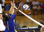 Erin Allison and Morgan McAlpin block for the Marymount University Saints during first round action at the 6th annual Worthington Classic at Gallaudet University in Washington, D.C., on Friday, Sept. 28, 2012. .Photo by Cathleen Allison