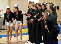 STANFORD, CA--March 1, 2013--Stanford's seniors Ashley Morgan and Nicole Dayton are honored before the start of Friday's, March 1, 2013, Gymnastics competition against Cal and Oregon State University on the Stanford University Campus. Stanford won the competition .