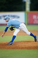Burlington Royals relief pitcher Mark McCoy (41) follows through on his delivery against the Danville Braves at Burlington Athletic Park on August 13, 2015 in Burlington, North Carolina.  The Braves defeated the Royals 6-3. (Brian Westerholt/Four Seam Images)