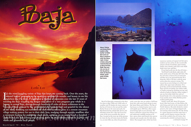 """DIVE TRAVEL Magazine Article - """"BAJA"""" on diving Mexico's Baja - All Photos by Dale Sanders."""