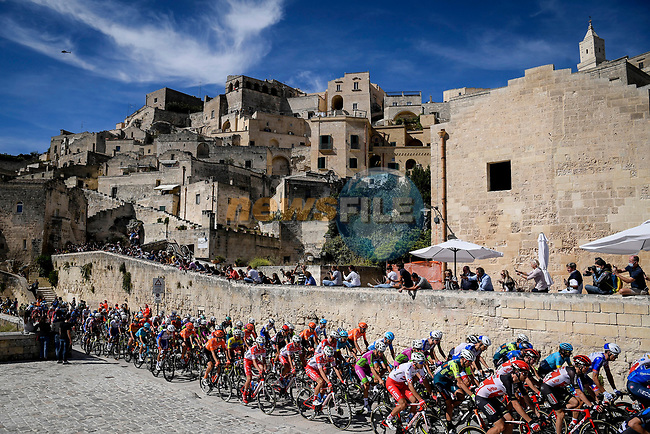 Beautiful Matera the start for Stage 7 of the 103rd edition of the Giro d'Italia 2020 running 143km from Matera to Brindisi, Sicily, Italy. 9th October 2020.  <br /> Picture: LaPresse/Fabio Ferrari | Cyclefile<br /> <br /> All photos usage must carry mandatory copyright credit (© Cyclefile | LaPresse/Fabio Ferrari)
