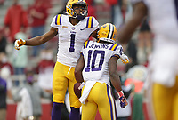 LSU wide receiver Jaray Jenkins (10) reacts after a score, Saturday, November 21, 2020 during the fourth quarter of a football game at Donald W. Reynolds Razorback Stadium in Fayetteville. Check out nwaonline.com/201122Daily/ for today's photo gallery. <br /> (NWA Democrat-Gazette/Charlie Kaijo)