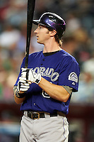 Colorado Rockies outfielder Charlie Blackmon #8 during a National League regular season game against the Arizona Diamondbacks at Chase Field on October 3, 2012 in Phoenix, Arizona. Colorado defeated Arizona 2-1. (Mike Janes/Four Seam Images)
