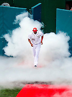 31 March 2011: Washington Nationals outfielder Michael Morse arrives on field during the pre-game ceremonies of Opening Day, prior to a game between the Washington Nationals and the Atlanta Braves at Nationals Park in Washington, District of Columbia. The Braves shut out the Nationals 2-0 to open the 2011 Major League Baseball season. Mandatory Credit: Ed Wolfstein Photo