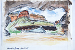 Grand Canyon, Hermit Camp, watercolor and charcoal, Journal Art 2009,