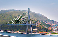 The new Dubrovnik Franjo Tudman Franja Tudmana suspension bridge at the entrance to Gruz docks harbour, Rijeka Dubrovacka bay and Kanal Daksa canal. Dubrovnik, new city. Dalmatian Coast, Croatia, Europe. Designed by Mladen Ulicevic.