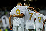 Karim Benzema (L) and Eden Hazard (R) of Real Madrid celebrate goal (anulated) during La Liga match between Real Madrid and Real Betis Balompie at Santiago Bernabeu Stadium in Madrid, Spain. November 02, 2019. (ALTERPHOTOS/A. Perez Meca)