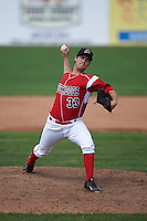 Batavia Muckdogs pitcher LJ Brewster (33) delivers a pitch during a game against the State College Spikes August 23, 2015 at Dwyer Stadium in Batavia, New York.  State College defeated Batavia 8-2.  (Mike Janes/Four Seam Images)