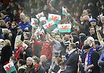 Patriotic Welsh fans with flags.<br /> RBS 6 Nations 2014<br /> Wales v France<br /> Millennium Stadium<br /> 21.02.14<br /> <br /> ©Steve Pope-SPORTINGWALES