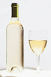 Wine Bottle and Glass, pinot grigio, white, glow, backlight.  High gain, soft focus.