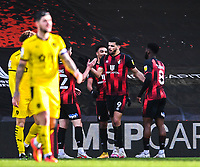 13th March 2021; Vitality Stadium, Bournemouth, Dorset, England; English Football League Championship Football, Bournemouth Athletic versus Barnsley; Dominic Solanke of Bournemouth celebrates with his team after scoring in 45th minute 2-1