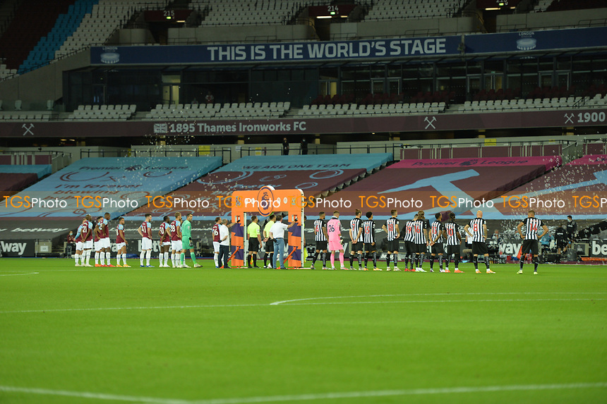 The Players arrive for kick off during West Ham United vs Newcastle United, Premier League Football at The London Stadium on 12th September 2020