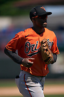 Baltimore Orioles outfielder Jaylen Ferguson (92) jogs to the dugout during a Minor League Spring Training game against the Detroit Tigers on April 14, 2021 at Joker Marchant Stadium in Lakeland, Florida.  (Mike Janes/Four Seam Images)
