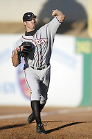 Mark Phillips of the Lake Elsinore Storm warms up before pitching during a California League 2002 season game against the High Desert Mavericks at Mavericks Stadium, in Adelanto, California. (Larry Goren/Four Seam Images)