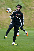 Thursday 20 March 2014<br /> Pictured: Wilfried Bony<br /> Re: Swansea City Training at their Fairwood training facility, Swansea, Wales,UK