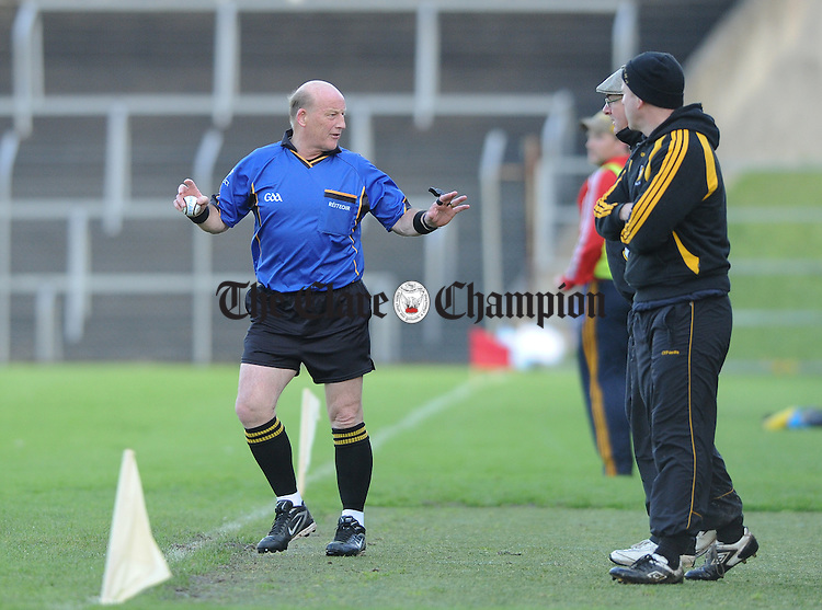 Referee Kevin Walsh during the semi final game at Cusack park. Photograph by John Kelly.