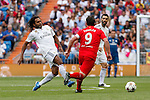 Real Madrid´s Karembeu and Liverpool´s Fowler during 2015 Corazon Classic Match between Real Madrid Leyendas and Liverpool Legends at Santiago Bernabeu stadium in Madrid, Spain. June 14, 2015. (ALTERPHOTOS/Victor Blanco)