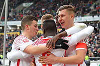 31.03.2018, Football 1. Bundesliga 2017/2018, 28.  match day, Hannover 96 - RB Leipzig, in HDI-Arena Hannover. celebration RB Leipzig   0:2 *** Local Caption *** © pixathlon<br /> <br /> Contact: +49-40-22 63 02 60 , info@pixathlon.de