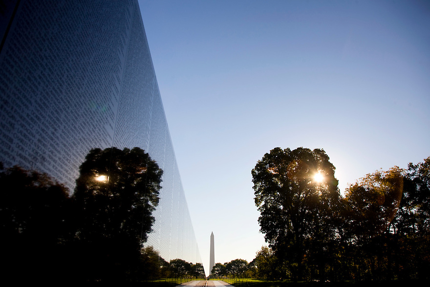 The Vietnam Veterans Memorial is a national war memorial located in Washington, D.C. It honors members of the U.S. armed forces who fought in the Vietnam War and who died in service or are still unaccounted for.  The Memorial Wall was designed by U.S. architect Maya Lin. ..Photo by Brooks Kraft/Corbis.....................