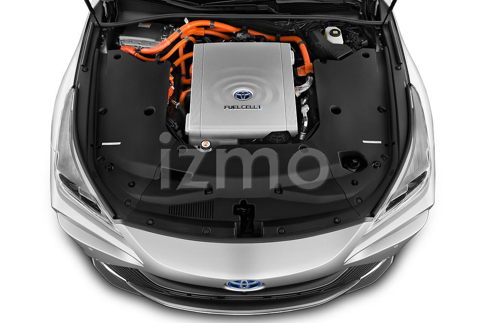 Car Stock 2021 Toyota Mirai Limited 4 Door Sedan Engine  high angle detail view