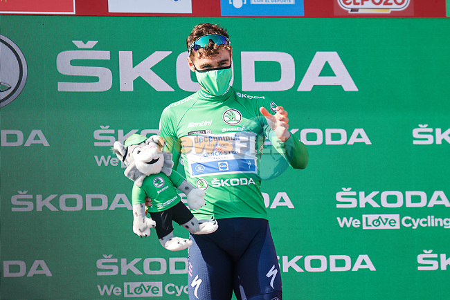 Fabio Jakobsen (NED) Deceuninck-Quick-Step wins Stage 16 and retains the points Green Jersey of La Vuelta d'Espana 2021, running 180km from Laredo to Santa Cruz de Bezana, Spain. 31st August 2021.     <br /> Picture: Luis Angel Gomez/Photogomezsport | Cyclefile<br /> <br /> All photos usage must carry mandatory copyright credit (© Cyclefile | Luis Angel Gomez/Photogomezsport)