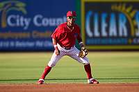 Clearwater Threshers shortstop Luis García (5) during a game against the Dunedin Blue Jays on May 20, 2021 at BayCare Ballpark in Clearwater, Florida.  (Mike Janes/Four Seam Images)