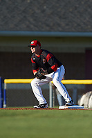 Batavia Muckdogs first baseman Ben Fisher (36) waits for a throw during a game against the Lowell Spinners on July 11, 2017 at Dwyer Stadium in Batavia, New York.  Lowell defeated Batavia 5-2.  (Mike Janes/Four Seam Images)