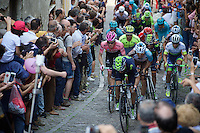 the race favourites together up the final ascent of the very steep (20%), narrow and cobbled Via Principi d'Acaja<br /> <br /> stage 18: Muggio - Pinerolo (240km)<br /> 99th Giro d'Italia 2016