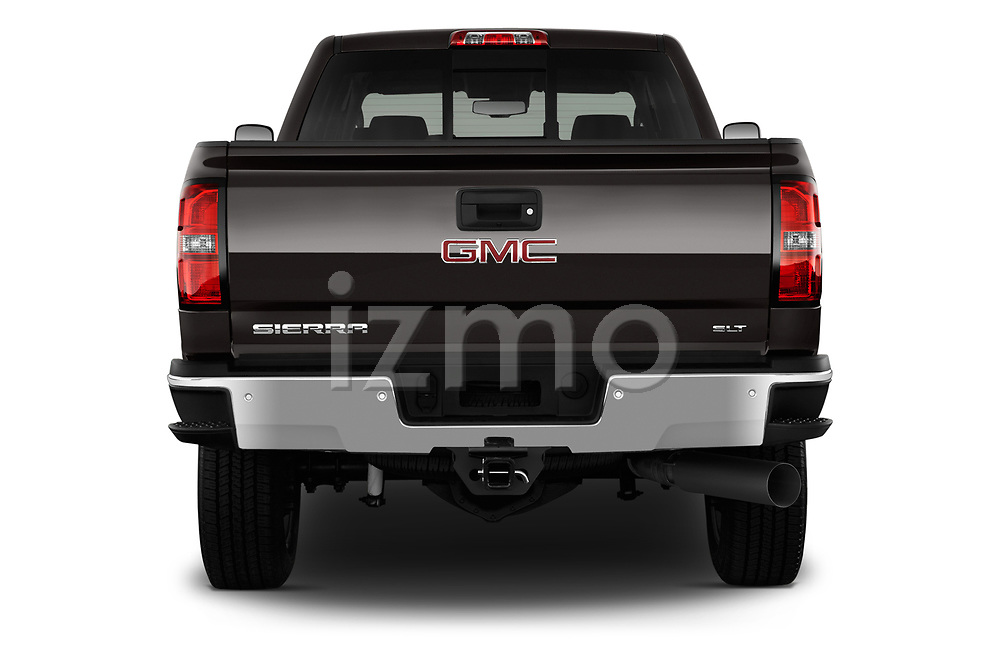 Straight rear view of a 2019 GMC Sierra 2500HD 2WD Crew Cab Standard Box SLT 4 Door Pick Up stock images