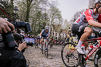 Trixi Worrack and Dani Christmas at the top of the Muur,  16th Ronde Van Vlaanderen<br /> <br /> Elite Womans Race (1.WWT)<br /> <br /> One day race from Oudenaarde to Oudenaarde<br /> ©Jojo Harper for Kramon