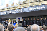 Trek Factory Racing team at the Team Presentations in Compiegne before the 2015 Paris-Roubaix cycle race held over the cobbled roads of Northern France. 11th April 2015.<br /> Photo: Eoin Clarke www.newsfile.ie