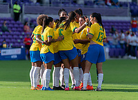 ORLANDO, FL - FEBRUARY 18: Brazil huddles during a game between Argentina and Brazil at Exploria Stadium on February 18, 2021 in Orlando, Florida.