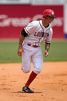 Chattanooga first baseman Adam Rosales (27) hustles towards third base versus Mississippi at AT&T Field in Chattanooga, TN, Wednesday, July 25, 2007.