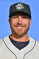Asheville Tourists infielder Brian Mundell (15) poses for a photo at Story Point Media on April 5, 2016 in Asheville, North Carolina. (Tony Farlow/Four Seam Images)
