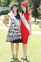 17/8/2010. 2010 Rose of Tralee visit RTE. The London Rose Clare Kambamettu and Carlow Rose Jessica Adamson at the RTÉ studios in Donnybrook Dublin. The Rose of Tralee International Festival, which runs from Friday 20th to Tuesday 24th of August, culminates in the live televised International Rose Selection on RTÉ One, hosted for the first time by Dáithí O Sé. The show will be broadcast from 8pm on Monday and Tuesday the 23rd and 24th of August, with a break for the Nine O' Clock News on both nights. The show will also be streamed live around the world at www.rte.ie. Picture James Horan/Collins Photos