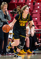 COLLEGE PARK, MD - FEBRUARY 13: Kate Martin #20 of Iowa dribbles up court during a game between Iowa and Maryland at Xfinity Center on February 13, 2020 in College Park, Maryland.