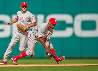 15 September 2013: Philadelphia Phillies shortstop Jimmy Rollins in action against the Washington Nationals at Nationals Park in Washington, DC. The Nationals took the rubber match of their 3-game series 11-2 to keep Washington's wildcard hopes alive. Mandatory Credit: Ed Wolfstein Photo *** RAW (NEF) Image File Available ***