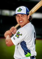 13 June 2018: Vermont Lake Monsters catcher Lana Akau poses for a portrait on Photo Day at Centennial Field in Burlington, Vermont. The Lake Monsters are the Single-A minor league affiliate of the Oakland Athletics, and play a short season in the NY Penn League Stedler Division. Mandatory Credit: Ed Wolfstein Photo *** RAW (NEF) Image File Available ***
