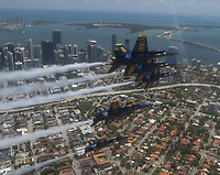 MIAMI (May 8, 2020) The U.S. Navy Flight Demonstration Squadron, the Blue Angels, fly over Miami, May 8, 2020. The flyover was part of America Strong, a collaborative salute from the Navy and Air Force to recognize healthcare workers, first responders, military, and other essential personnel while standing in solidarity with all Americans during the COVID-19 pandemic<br /> <br /> People: Blue Angels