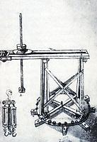 "Technology:  Brunelleschi""s Machines--Lantern-building crane,  drawn by Buonaccorso Ghiberti.  Photo '91.."
